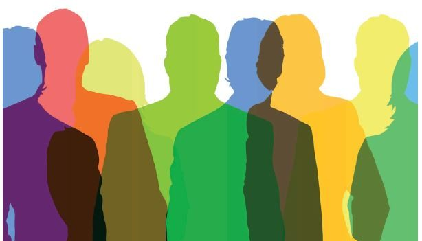 Bunte Menschen als Symbol für Integration