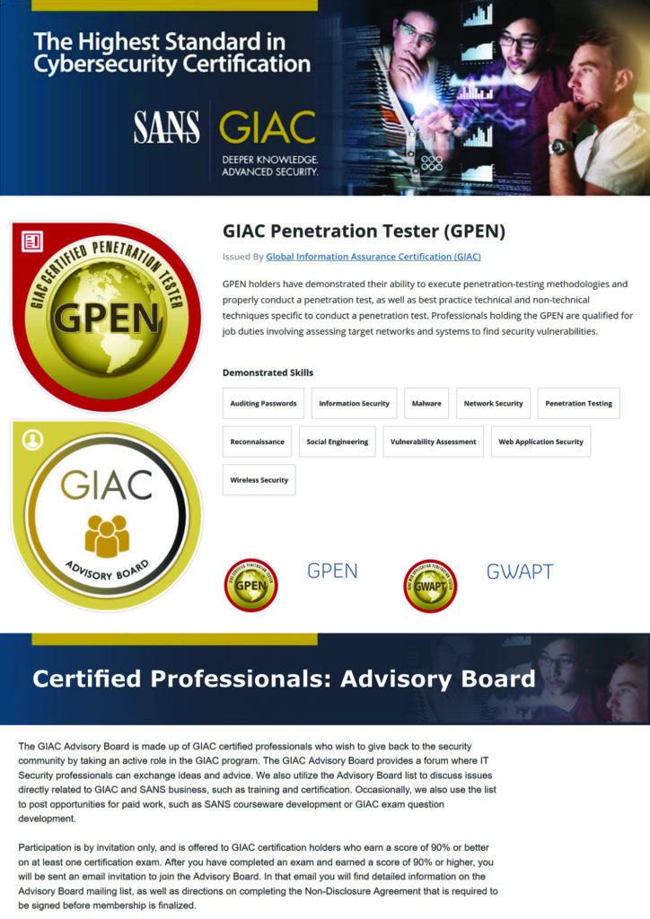 GIAC-Zertifizierung (GPEN)
